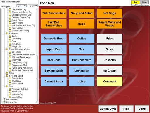 Restaurant point of sale menu customization