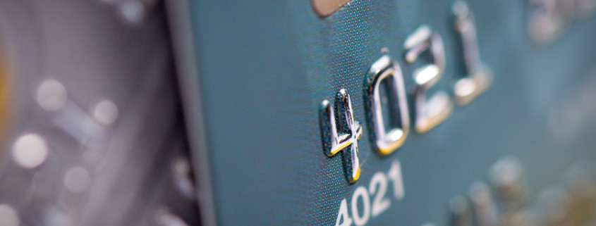 Close up of a green credit card