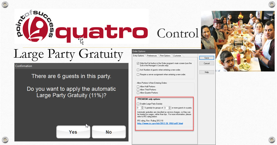 Large Party Gratuity Feature Point Of Success